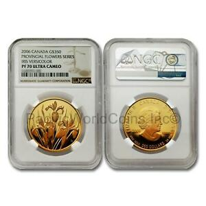 Click now to see the BUY IT NOW Price! CANADA 2006 PROVINCIAL FLOWERS   IRIS VERSICOLOR $350 GOLD NGC PF70 UC SKU7757