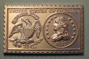 1815 UNITED STATES LIBERTY CAP QUARTER DOLLAR NUMISTAMP MEDAL COIN 1974 REED