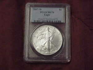 2007 W  BURNISHED SILVER EAGLE PCGS MS70
