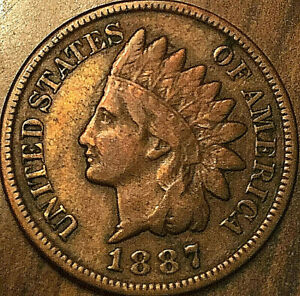 1887 UNITED STATES INDIAN HEAD PENNY SMALL CENT COIN