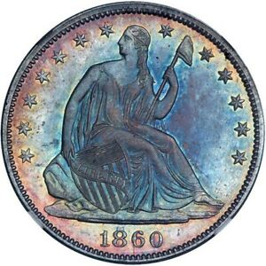 1860 SEATED HALF DOLLAR NGC MS62 CAC  MONSTER TONED RAINBOWS  BEST IVE SEEN
