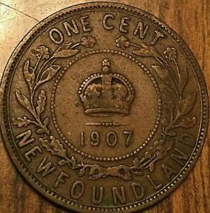 1907 NEWFOUNDLAND LARGE CENT COIN LARGE 1 CENT PENNY