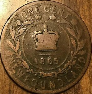 1865 NEWFOUNDLAND LARGE CENT COIN LARGE 1 CENT PENNY