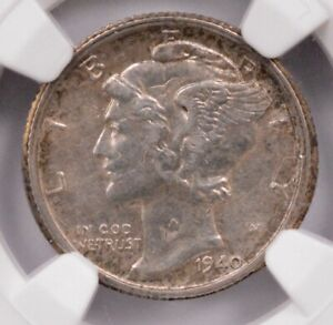 Click now to see the BUY IT NOW Price! NGC 10C 1940 S MERCURY DIME ROTATED DOUBLE STRIKE AU55