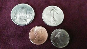 LOT OF 4 ASSORTED COINS INDIA FRANC & CANADA