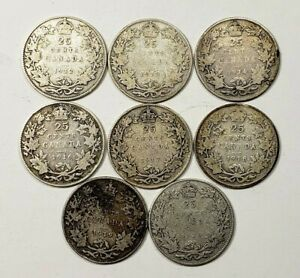 CANADA 1912 TO 1920 SILVER 25 TWENTY FIVE CENTS 8 COIN LOT COLLECTION