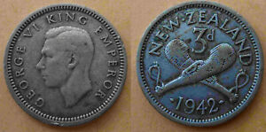 1942 GEORGE VI NEW ZEALAND 3D  3 PENCE  SILVER COIN
