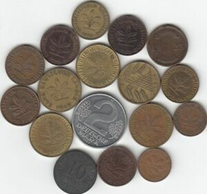 LOT OF 16 GERMANY COINS   1917   1976 DATE RANGE