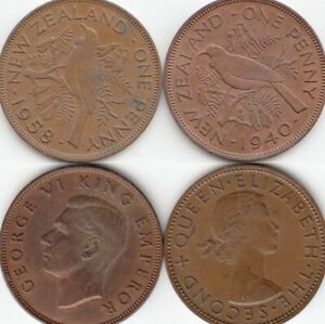 LOT OF 2 NEW ZEALAND ONE PENNY COINS 1940 1958