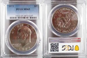 1973 P EISENHOWER IKE DOLLAR PCGS MS65 BRAND NEW PCGS HOLDER NO SCRATCHES