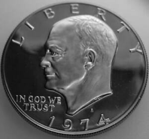 1974 S EISENHOWER DOLLAR COPPER/NICKEL CLAD PROOF NICE NO PROBLEM COIN