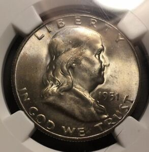 1951 S FRANLKIN HALF DOLLAR 50C SILVER HIGH GRADE TONED NGC MS65