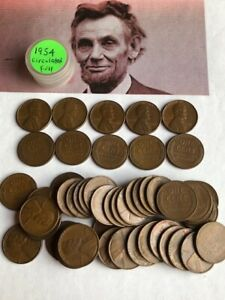 1954 CIRCULATED LINCOLN PENNIES ONE ROLL 50 COIN TOTAL LINCOLN WHEAT 1C US COINS