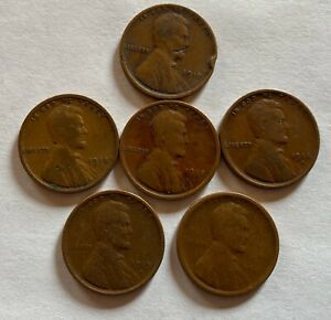 LOT OF 6 WHEAT PENNIES 1917 1919  WILL COMBINE SHIPPING