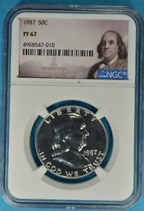 1957 FRANKLIN HALF DOLLAR NGC PF67  SPECIAL BEN LABEL NICELY MIRRORED SHARP