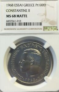 Click now to see the BUY IT NOW Price! 1968 GREECE ESSAI PLATINUM 100 DRACHMAS NGC MS 68 MATTE