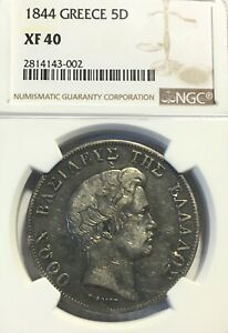 Click now to see the BUY IT NOW Price! 1844 GREECE 5 DRACHMAS NGC XF40 ATHENS MINT