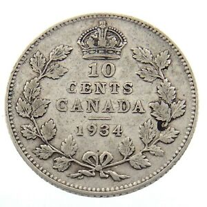 1934 CANADA 10 CENTS DIME CIRCULATED GEORGE V TEN CENTS CANADIAN COIN P065