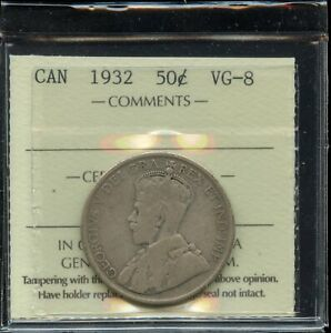 1932 KEY DATE CANADA FIFTY CENTS   ICCS VG 8