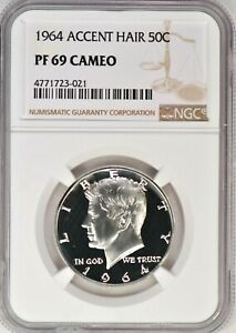 Click now to see the BUY IT NOW Price! 1964 ACCENT HAIR KENNEDY HALF DOLLAR PROOF NGC PF 69 CAMEO / PR69CAM   SPOT FREE