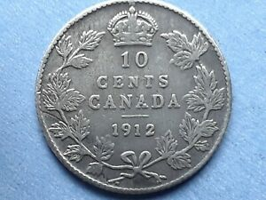 CANADA 10 CENTS 1912 GEORGE V SILVER