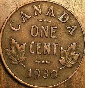 1930 CANADA SMALL 1 CENT COIN PENNY