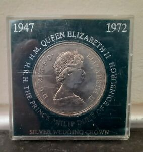 1972 QUEEN ELIZABETH II SILVER WEDDING CROWN COIN BOXED. COLLECTION COLLECT.