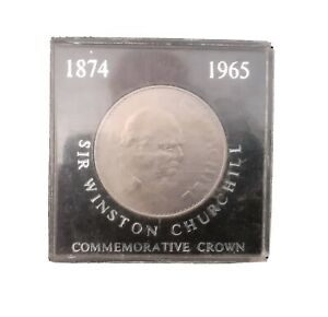 1965 SIR WNSTON CHURCHILL SILVER COMMEMORATIVE CROWN COIN. BOXED. COLLECTION.