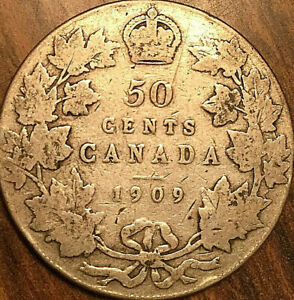 1909 CANADA SILVER 50 CENTS FIFTY CENTS COIN