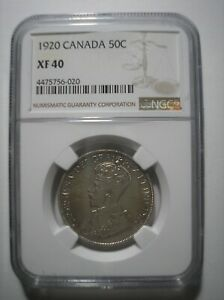 SBA48 CANAD 1920 SILVER 50 CENTS NGC XF40