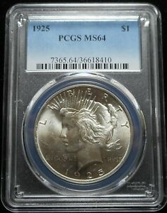 1925 P $1 PEACE SILVER DOLLAR PCGS MS64