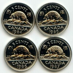 CANADA 1984 1985 1986 1987 UNCIRCULATED FIVE CENT CANADIAN NICKELS EXACT COINS