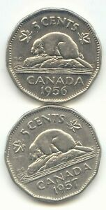 CANADA 1956 & 1957 CANADIAN NICKELS 5C FIVE CENT PIECE 5 CENTS EXACT SET SHOWN