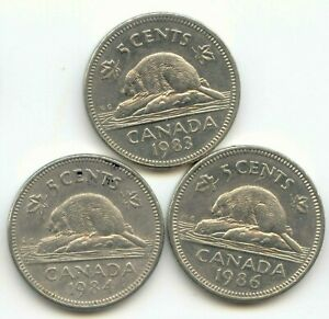 CANADA 1983 1984 1986 FIVE CENT CANADIAN NICKELS NICKEL SET 5C EXACT COINS SHOWN