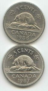 CANADA 1986 & 1987 CANADIAN NICKELS 5C FIVE CENT PIECE 5 CENTS EXACT SET SHOWN