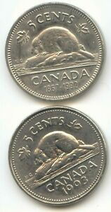 CANADA 1992 AND 1993 CANADIAN NICKELS FIVE CENT PIECES 5C 5 C  EXACT  SET