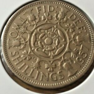 GREAT BRITAIN 1957 TWO SHILLING COIN