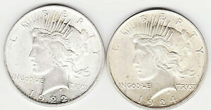 1922 P 1924 P PEACE SILVER DOLLARS DIE CRACK AND LAMINATION ERRORS FREE S&H