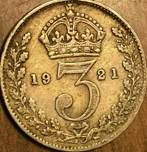 1921 GREAT BRITAIN GEORGE V SILVER THREEPENCE COIN