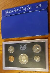 1971 S UNITED STATES MINT ANNUAL 5 COIN PROOF SET WITH ORIGINAL BOX KENNEDY HALF