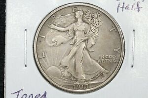 Click now to see the BUY IT NOW Price! 1918 WALKING LIBERTY HALF DOLLAR LUSTROUS TONED CH. AU