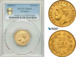 Click now to see the BUY IT NOW Price! AE891 ROMANIA CAROL I 20 LEI 1870 C BUCHAREST GOLD PCGS MS63 POP 1/1 RR