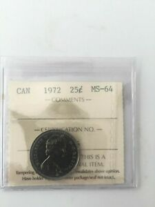 1972 CANADA 25 CENTS ICCS CERTIFIED MS 64
