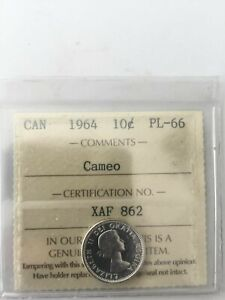 1965 CANADA 10 CENTS ICCS CERTIFIED PR 65 CAMEO