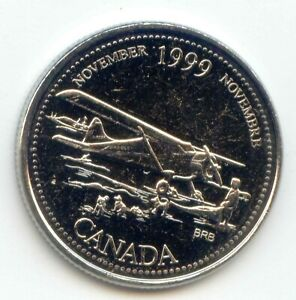 CANADA 1999 NOVEMBER UNC CANADIAN QUARTER 25C UNCIRCULATED PLANE SLED DOGS COIN