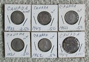 5 CANADA TEN CENTS  WITHIN THE RANGE OF 1933   1962  & 1 1945 FIVE CENTS