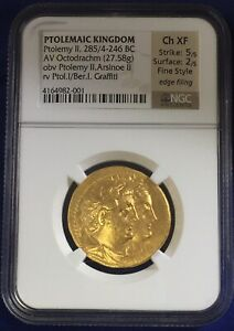 Click now to see the BUY IT NOW Price! PTOLEMAIC KINGDOM AV OCTODRACHM PTOLEMY II ARSINOE II 285/4 246 BC NGC CH XF