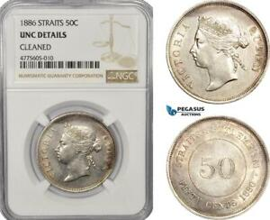 Click now to see the BUY IT NOW Price! AE938 STRAITS SETTLEMENTS VICTORIA 50 CENTS 1886 SILVER NGC UNC DET.