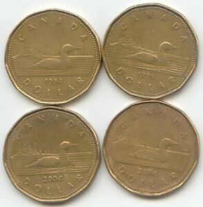 CANADA 1994 1995 2004 2006 CANADIAN  LOONIE CANADIAN ONE DOLLAR $1 LOON COINS