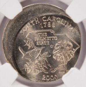 NGC 25C 2000 P SOUTH CAROLINA QUARTER STRUCK 20  OFF CENTER MS66